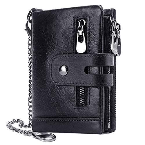Herren Geldbörse RFID Schutz Männer Ledergeldbeutel mit Kette Doppelte Falte Herren Geldbeutel mit Münzfach Reißverschluss Portemonnaie 16 Kartenfächern Portmonee Brieftasche (schwarz)