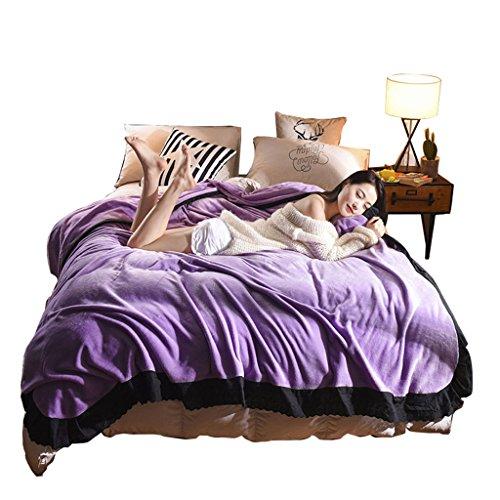 Max Home Mehr als Coral Fleece Decken Tagesdecke King Size - Luxus Extra Large Bed Decken Super Soft Fluffy Warm Mikrofaser Solide Decke (Farbe : Violet, größe : 150cmX230cm)