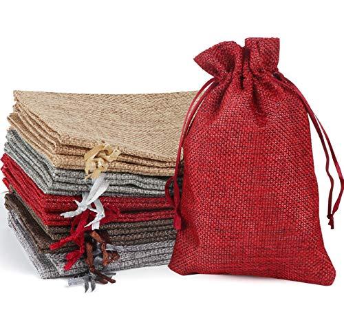 Homewit Jutesäckchen mit Kordelzug 30 Stück Natur Baumwolle Säckchen mit Satinband Drawstring, Bunte Natur Organza Beutel für Schmuck Geburtstagsfeier Weihnachten (10 * 15CM)