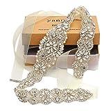 Yanstar Bridal Rhinestone Wedding Belts Hand Clear Crystal 22In Length with Ivory Organza Ribbon for Bridal Gowns
