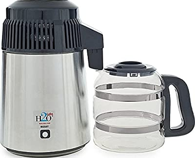 Best-In-Class Stainless Steel Water Distiller with Glass Carafe, Porcelain Nozzle Insert and Most Effective VOC Removal