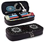 Supernatural Symbols Black Pencil Case Big Capacity Storage Bag Stationery Organizer Pencil Pouch with Zipper for School & Office