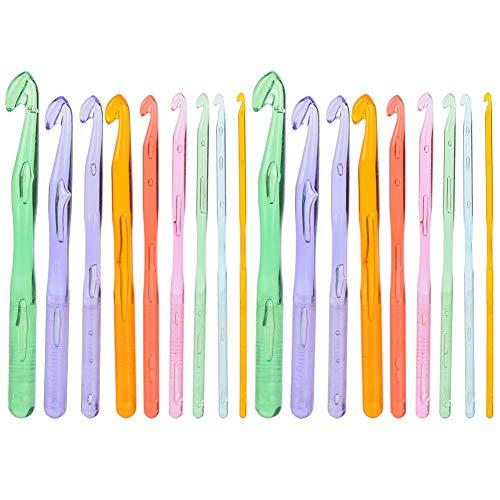 Haaknaalden, 18Pcs Transparante Kleurrijke Plastic Trui Haakpak Weefgereedschap 3MM 4MM 5MM 6MM 7MM 8MM 9MM 10MM 12MM