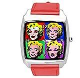 Reloj cuadrado de cuero rojo para fans POP Art