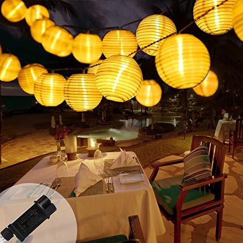 Lampion Lichterkette Außen 10M 40er LED Wasserdicht Lampion Gartenlaterne Lichterkette Aussen Beleuchtung mit Stecker, 8 modi, für Balkon, Party, Garten, Hof, Hochzeit, Fest Deko (Warmweiß)