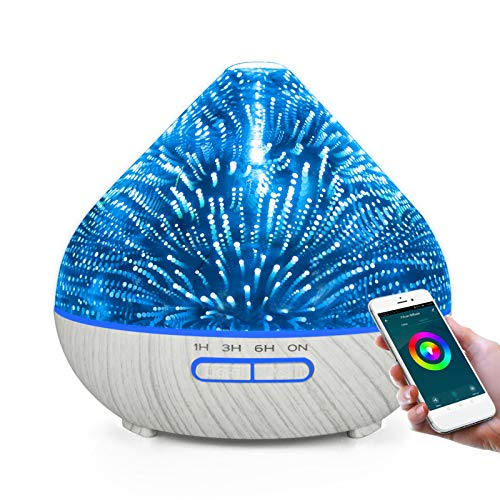 EOADUH WIFI Essential Oil Diffuser with App Control, 400ml Glass Aromatherapy Humidifier Support Alexa and Google Home, Create Schedules, Timer Settings, 7 Color LED, Waterless Auto off, Quiet,White
