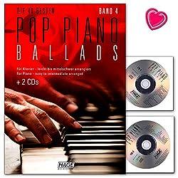 Hage Verlag EH3959 4026929920645 Pop Piano Ballads Band 4 - Songbook avec 2 CD et pince à partitions colorée en forme de cœur