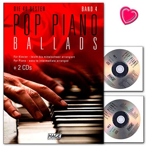 Pop Piano Ballads Band 4 - Songbook mit 2 CDs und bunter herzförmiger Notenklammer - Hage Verlag EH3959 4026929920645