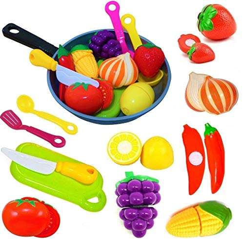 Cut Play Food Kitchen Accessories Set for Kids - Cutting Toy Fruits and Vegetables - Cooking Pot - Toy Knife & Cutting board - Play Utensils - Toddlers, Boys & Girls Fake Food Pretend Playset