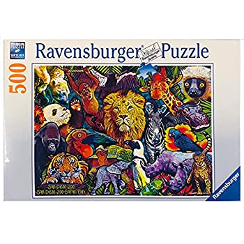 San Diego Zoo Collage Puzzle 500 Piece Puzzle Vibrant Coloful Wildlife Collage Softclick Technology Guarantees 100% Interlocking Fit