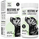 Pre and Probiotics for Dogs, Plus Digestive Enzymes (60 Capsules, Made in USA) Digestion Supplement for Diarrhea, Bad Breath, Gas/ Vet Recommended, Soil Based Premium Prebiotic for Canine Stomach Calm