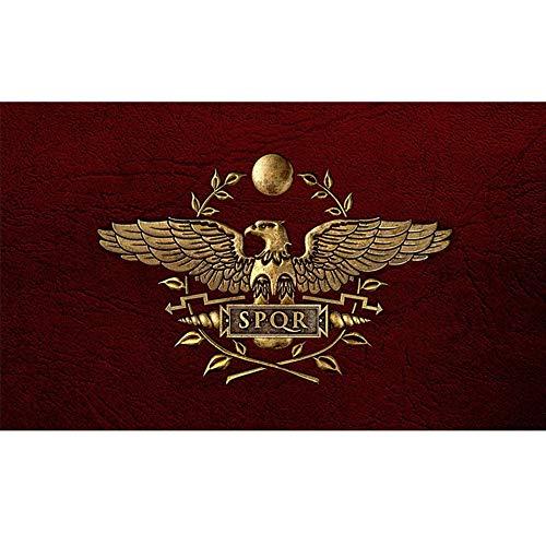 JiaHan SPQR Senatus Populusque Drapeau Romain Empire Romain Bannière décorative avec deux œillets en laiton 9,5 x 1,5 m