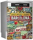 MEGADECOR DECORATE YOUR HOME Vinilo Decorativo para Lavavajillas, Medidas Estandar 67 cm x 76 cm, ¨Last Night I Slept In Barcelona¨