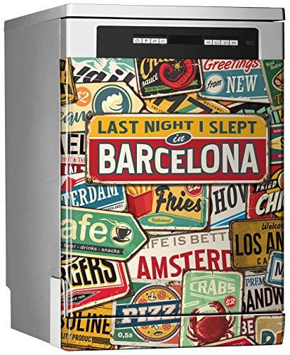 MEGADECOR Vinilo Decorativo para Lavavajillas, Medidas Estandar 67 cm x 76 cm, ¨Last Night I Slept In Barcelona¨