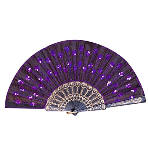 Cinhent Hand Folding Fans Adults Exquisite Peacock Pattern Hand Held Dance Fan, Embroidered Sequin Party Wedding Prom Exquisite Gifts Performance Props (F)