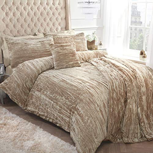 Sleepdown Crinkle Velvet Champagne Gold Duvet Cover Quilt Bedding Set with Pillowcases - Double (200cm x 200cm)
