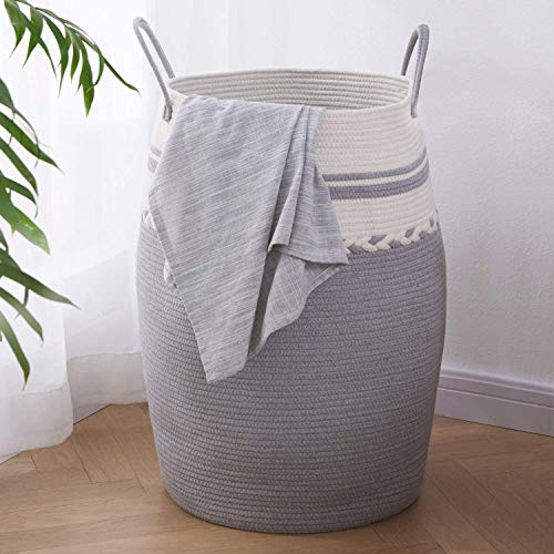 OIAHOMY Laundry Hamper Woven Cotton Rope Large Clothes Hamper 25.6' Height Tall Laundry Basket with Extended Cotton Handles for Storage Clothes Toys in Bedroom, Bathroom, Foldable (White Gray)