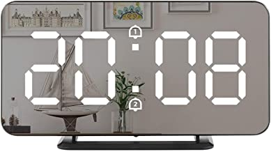 """Digital Clock Large Display,6""""Oversized LED Alarm Electric Clock Mirror Surface for Makeup with Dimming Mode, 3 Levels Bri..."""
