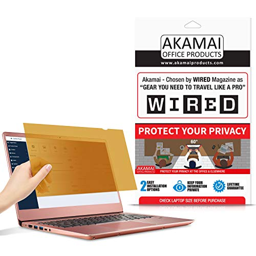 14' Akamai Computer Privacy Screen (16:9) - Gold - Security Shield - Laptop Monitor Protector - UV and Blue Light Filter (14.0 inch Widescreen (16:9), Gold)