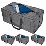 VENO Heavy Duty Extra Large Storage Bag, Moving Bag Tote (4-Pack), Clothes Organizer, For Blanket, Comforter, Bedroom closet, Dorm Room Essentials, Moving Supplies, Clothes Storage, Water Resistant, Recycled Materials