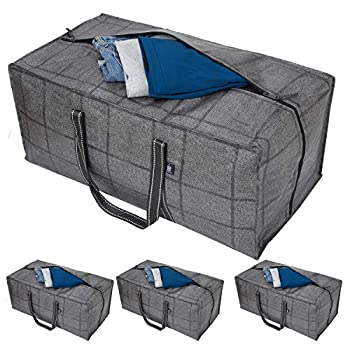 VENO Heavy Duty Extra Large Storage Bag Moving Bag Tote  4-Pack  Clothes Organizer For Blanket Comforter Bedroom closet Dorm Room Essentials Moving Supplies Clothes Storage Water Resistant Recycled Materials