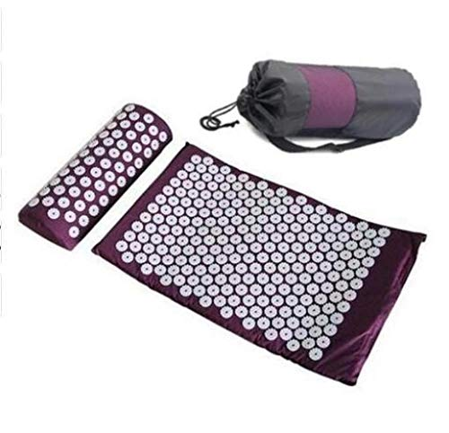 Massager Cushion Acupressure Yoga Mat Set with Pillow Relieve Stress Back Body Pain Spike and Muscle Relaxation with Carry Bag