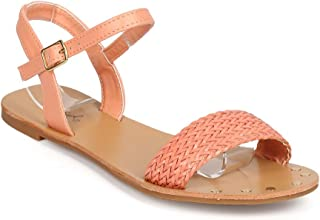 Qupid Women Leatherette Open Toe Minimal Woven Ankle Strap Sandal ED36 - Melon