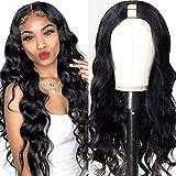 UNice Hair 10A Body Wave U Part Wig Human Hair for Black Women Brazilian Remy Human Hair Glueless Full Head Clip in Half Wig U Shape Wig 150% Density Natural Color (18inch)