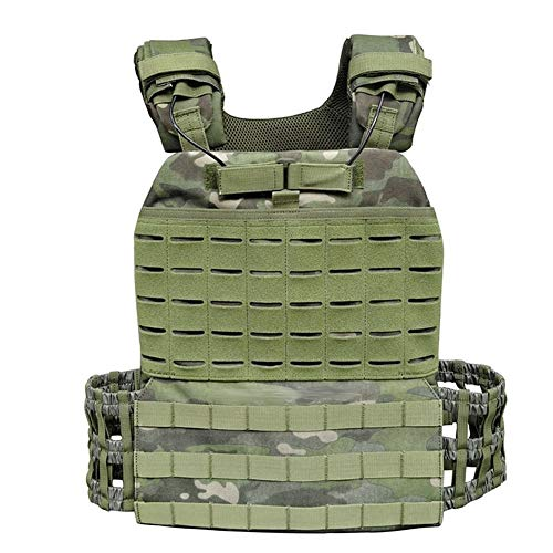 LUOSI Tactical Vest Outdoor Sports Body Ombat Assault Tactical Vest Molle Vest Carrier Plate (Color : MTP)