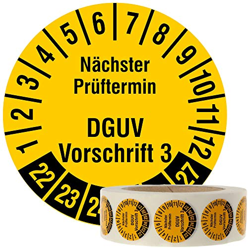 Labelident Mehrjahresprüfplakette 2022-2027 - Nächster Prüftermin DGUV Vorschrift 3 - Ø 30 mm, 1000 fälschungssichere Prüfplaketten auf Rolle, Dokumentenfolie, signalgelb, selbstklebend