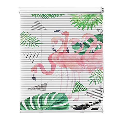 AQAWAS Aluminium-Jalousie Aussen, Aluminium-Jalousie Plissee, Fensterjalousie Lamellen Heimtextilien, Sichtschutz Für Fenster,Flamingo_36x36in/92.5x92.5CM