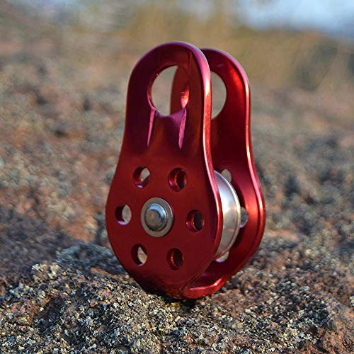SODIAL Outdoor Travel Climbing Rope Pulley 26Kn Fixed Pulley Mountain Adventure Crossing Pulley Climbing Climbing Downhill Rescue Equipment Climbing Adventure Equipment-Red