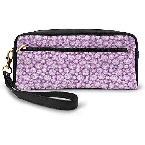 Purple Shade Blots et Cercles de différentes Tailles Petit Sac de Maquillage imprimé géométrique avec étui à Crayons à glissière 20 cm * 5,5 cm * 8,5 cm