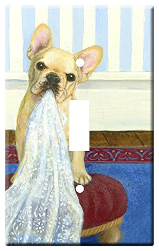 Gone Doggin French Bulldog 2A Single Toggle Light Switch Plate – Metal Wall Plate Frenchie Dog Art