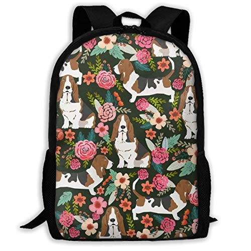 Carry Everyday Bookbag,Adult Rucksack,Travel Backpacks,Laptop Computer Bag,Crazy Basset Hound Florals Women & Men Durable Casual Daypack for School Business Camping Running Cycling Hiking