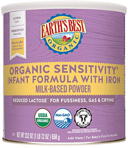 Earth's Best Organic Low Lactose Sensitivity Infant Formula with Iron, Omega-3 DHA...