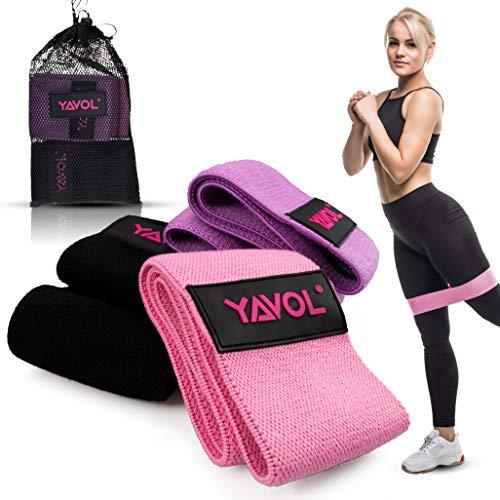 YAVOL Elastici Fitness Con 3 Livelli Di Allenamento | Attrezzi Esercizi Palestra In Casa Per Stretching, Pilates, Riabilitazione, Fisioterapia, Yoga | Kit Fasce Di Resistenza Accessori Sport