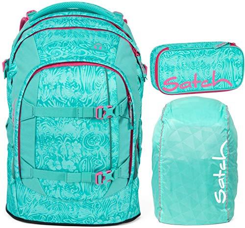 Satch Pack Aloha Mint 3er Set Schulrucksack, Schlamperbox & Regencape Mint