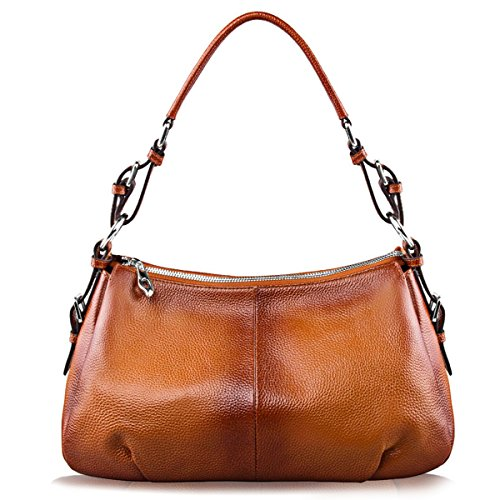 100% Genuine Leather---This bag is made of the First Layer Cowhide Leather (the best grade of genuine leather), NOT cow split leather nor PU plastic. Processed with oil wax, so it is durable. Smooth Zipper and High quality silver tone hardware---The ...