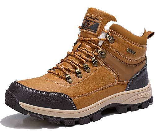 ARRIGO BELLO Uomo Stivali da Neve Invernali Scarpe Allineato Pelliccia Caloroso Caviglia Piatto Stivaletti Sportive Boots Escursionismo 41-46 (Cammello, Numeric_44)
