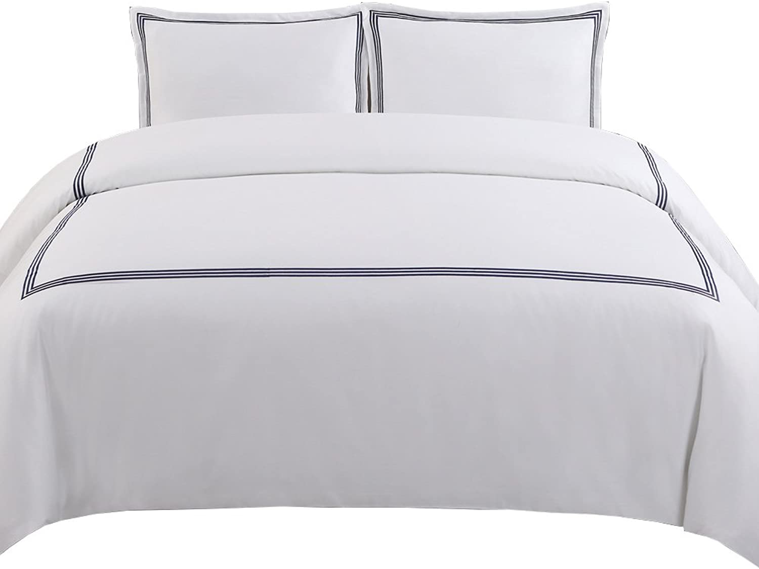 Echelon Home Three Line Hotel Collection Duvet Cover Set, Full Queen, Navy