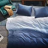 Intelligent Design Reversible 100% Cotton Sateen Duvet - Breathable Comforter Cover, Modern All Season Bedding Set with Sham (Insert Excluded), Mist, Ombre Indigo King/Cal King(104'x90')