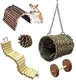 Lurowo Kauspielzeug für Hamster, 5 Zubehörteile für Spielzeug, Brücke, Leitern,...