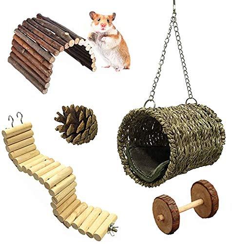 Lurowo Jouet de Hamster,5 Accessoires de Jouet, Pont Échelles, Balançoire Jouet,Naturel Jouet Molaire Perché Hamac, Jouets pour Hamster, écureuil, Furet, Cobaye, Chinchilla, Perroquet (5 Pcs)