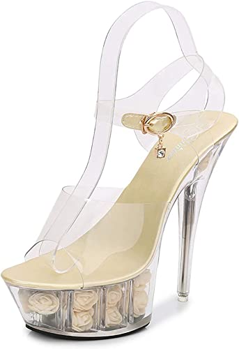 Femmes Superbes Sandales à Plateforme Talon Aiguille, Chaussures Transparentes à Fond en Cristal avec t Station
