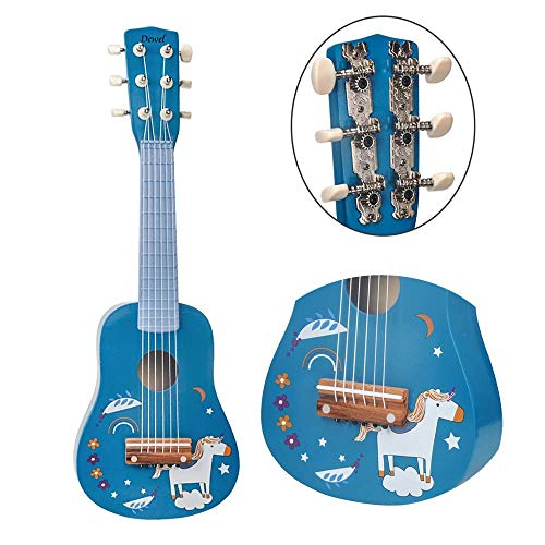 DEWEL ギター 子供用 楽器 6弦ギター 誕生日プレゼント ミニギター 21インチ 持ち運び 知育玩具 楽器玩具 おもちゃ かわいい 写真用 撮影用 運指練習 (七五三や入園卒園進学など)ピック・予備弦付き