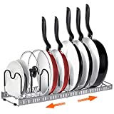Expandable Pot and Pan Organizers Rack, AHNR 10+ Pans and Pots Lid Organizer Rack Holder, Kitchen Cabinet Pantry Bakeware Organizer Rack Holder with 10 Adjustable Compartments (Black)