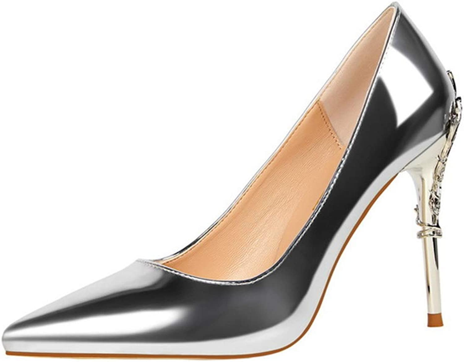Drew Toby Women Pumps Fashion Sexy Shallow Pointed Patent Leather Stiletto High Heels