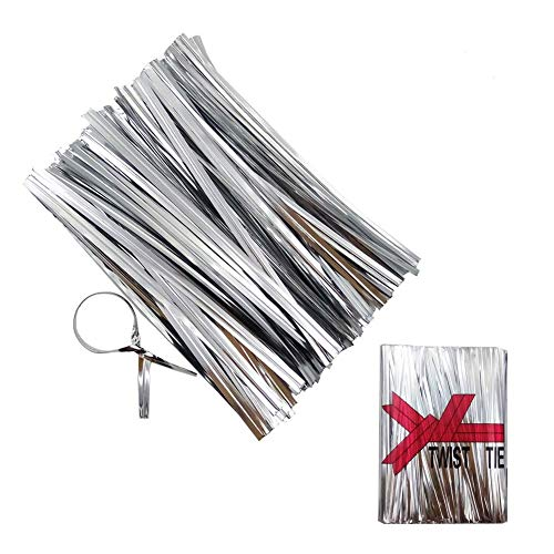 Heatigo 800 Stück Metall-Spiralbinder, Twist Ties for Bindestreifen, Verpackung für Bäckerei, Seife, Plätzchen,Schokolade, Bonbons, Puffreis (Silver)