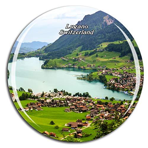 Weekino Svizzera Lago di Lugano Calamità da frigo 3D Cristallo Bicchiere Tourist City Viaggio Souvenir Collezione Regalo Forte Frigorifero Sticker